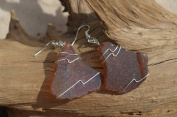 Amber Brown Wire Wrapped Sea Glass Earrings