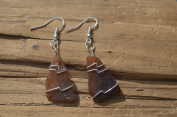 Pretty Brown Wire Wrapped Sea Glass Earrings