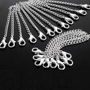 5Pcs Fashion Men Women Silver Plated Necklace Chain Extender+Lobster Clasp