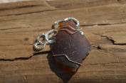 Thick Amber Brown Sea Glass Wire Wrapped Necklace