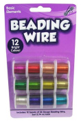 2.7m Spools Coloured Bead Craft Wire Pkg.