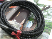 2 Yards 6.0mm Black Colour Soft Braided Bolo Real Leather Cord