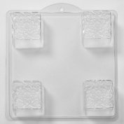 4 Cavity Embossed Knot On A Square Soap/Bath Bomb Mould Mould I04