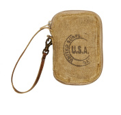 Vintage Eco Inspired USA Stamped Recycled Canvas Wristlet Wallet M-2865