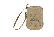 "Vintage Eco Inspired ""Live Work Create"" Recycled Canvas Wristlet Wallet M-2880"