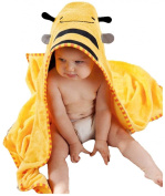 88x88cm Animal Face Hooded Woven Terry Baby Towel (Yellow