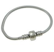 Timeline Treasures Surgical Stainless Steel Starter Charm Bracelet Fits Pandora Jewellery European Style Snap FREE Bead