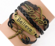 Handmade Dragonfly Believe Love Charm for Friendship Gift - Fashion Personalised Leather Bracelet