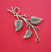 BeadsTreasure 2-Branch Leaf Embellishment Antique Silver Over Brass Stamping Pendant .