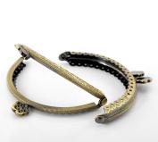 """2pcs - Antique Bronze Purse Bag Metal Frame Kiss Clasp Lock Handle - Flower Design - 3 3/8""""x2 3/8"""""""
