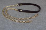 Dark Coffee Messenger Bag Straps Chains Metal Handbag Purse Clutch Chains Width 1.2cm Total Length 130cm