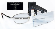 3Pcs Clip-on Magnifying Lens for Reading Glasses(1.5X, 2.5X, & 3.5X)