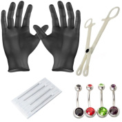 Body Piercing Kit -Belly Button 14G Piercing Needles and Belly Rings