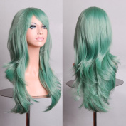 HILISS 70cm Long Heat Resistant Mint Green Big Wavy Cosplay Wig
