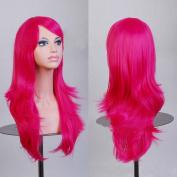 HILISS 70cm Long Heat Resistant Hot Pink Big Wavy Cosplay Wig