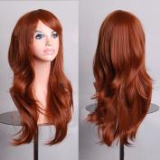 HILISS 70cm Long Heat Resistant Brown Big Wavy Cosplay Wig