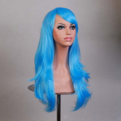 HILISS 70cm Long Heat Resistant Sky Blue Big Wavy Cosplay Wig