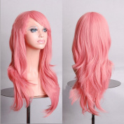HILISS 70cm Long Heat Resistant Pink Big Wavy Cosplay Wig