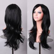 HILISS 70cm Long Heat Resistant Black Big Wavy Cosplay Wig
