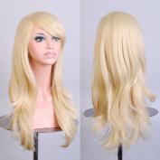 HILISS 70cm Long Heat Resistant Light Blonde Big Wavy Cosplay Wig