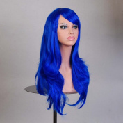 HILISS 70cm Long Heat Resistant Dark Blue Big Wavy Cosplay Wig