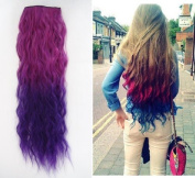 Uniwigs Ombre Dip-dye Colour Clip in Hair Extension 55-60cm Length Red to Purple Loose Curl for Fashion Girls Tbe0013