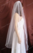 Bridal Wedding Veil Ivory 1 Tier Fingertip Length Nylon Filament Pencil Edge