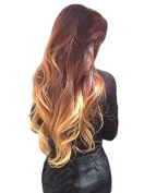 (NEW) REAL LOOK HAIR EXTENSION AMAZING STUNNING GINGER HONEY BLONDE MIX WAVY 60cm X LONG