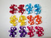 Multicolor Grosgrain Ribbon Hair Bow Barrettes