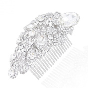 EVER FAITH Bridal Silver-Tone Floral Teardrop Clear Austrian Crystal Hair Comb N00145-1