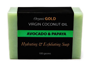 Virgin Coconut Oil Soap for Face and Body. 100% Organic, All Natural and Handmade. Anti-bacterial, Anti-ageing, Anti-oxidant, Exfoliating and Moisturising Soap. With Avocado Oil and Papaya Extract, for All Skin Types.