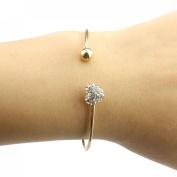 Suppion Girl Simple Style Love Heart Rhinestone Pendant Open Bangle Bracelet