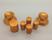 New Custom Xbox 360 Metal Gold Thumbsticks & ABXY/Guide 9mm Bullet Buttons Kit