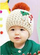 Fashion Cute Baby Kids Girls Boys Stretchy Warm Winter Knit Crochet Hat / Earflap Hat/ Beanie Hat, snowman hat , beige