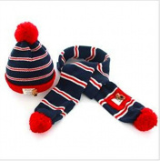 Fashion Cute Baby Kids Girls Boys Stretchy Warm Winter Knit Crochet Hat Beanie Hat, strip hat with scarf, red