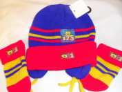 Teddy Hat and Mittens Lovely little Mitten and Hat set, Blue/Red One size