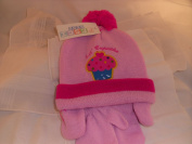 Hat & Mits Set with ears (Word & Motif of Cupcake) Colour Dusty Pink