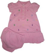 Ralph Lauren Polo Infant Girls 2 Piece Short Sleeve All Over Pony Dress Pink