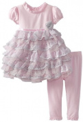 Nannette Baby-girls Infant 2 Piece Bow Pattern Dress And Legging, Pink, 12 Months Colour
