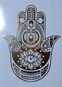 Stunning Limited Edition Gold temporary Gold foil tattoo Large A5 Hamsa Hand