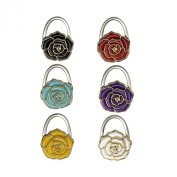 (Price/6 Pcs)GOGO Foldable Hand Bag Purse Hook Hanger, Rose Shaped, Assorted Colours