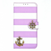 Ukamshop(TM)Stripes Anchor Rudder Wallet Flip Case For iPhone 6 Plus 14cm