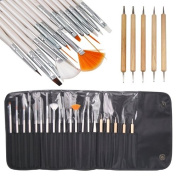 Jazooli 20pcs Nail Art Designing Painting Dotting Detailing Pen Brushes Tool Kit Set