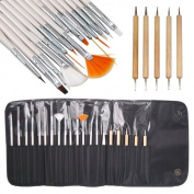 Jazooli 20pcs Nail Art Designing Painting Dotting Detailing Pen Brushes Tool Kit Set