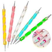 UV GEL & Acrylic Nail Art Tips Design Dotting Painting Pen Polish Brush Set [2-Ways Dottin pen]
