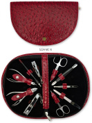 3 Swords - 10 pieces Manicure & Pedicure Case, made of high quality Austrich synthetic leather red - Quality