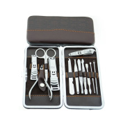 surker Creative 12pc Tool Manicure Pedicure Set Nail Clipper Scissors Grooming Kit case PCPA00002