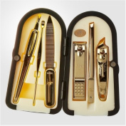 Three Seven 777 [TS-4000G] 6PCS Stainless Manicure Pedicure Cutter Nail Clipper Kit Set Tool Grooming Nipper