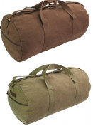 Highlander Heavy Duty Canvas Large 45L HOLDALL Green Brown Webbing Shoulder Bag