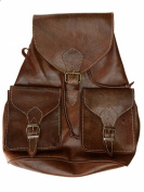 Vintage Style Moroccan Hand-made Genuine Leather Rucksack Backpack in Brown